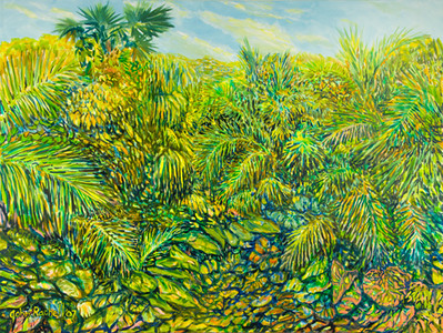 "©John Rachell  Title: The Garden, January 10, 2007 Image Size: 48"" w by 36"" d Dated: 2007 Medium and Support: Oil Paint on Canvas Signed: LL Signature"