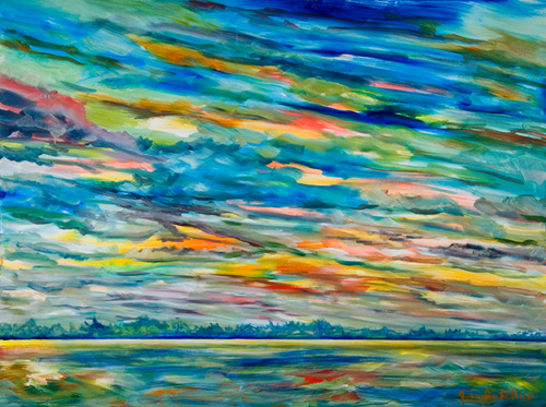 """©John Rachell  Title: Sky, September 15, 2006 Image Size: 48""""w X 36""""d Date: 2006 Medium & Support: Oil paint on canvas Signed: LR Signature"""