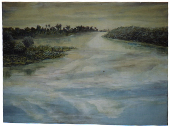 "©John Rachell Title: Lake Worth View 2002 Image Size: 36""w X 28""d Date: 2002 Medium & Support: Oil paint on cotton canvas Signed: LR Signature"
