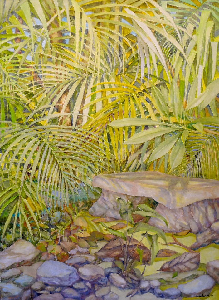 "© 2011 John Rachell Title: Garden, December 11, 2011 Image Size: 30"" W by 40"" D Dated: 2011 Medium and Support: Oil paint on canvas Signed: LR Signature"