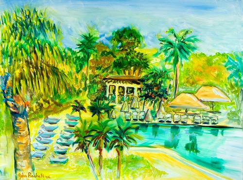 "©John Rachell  Title: PGA Resort, P.B. Gardens, FL, August 2, 2006 Image Size: 40""w X 30""d Date: 2006 Medium & Support: Oil paint on canvas Signed: LL Signature"