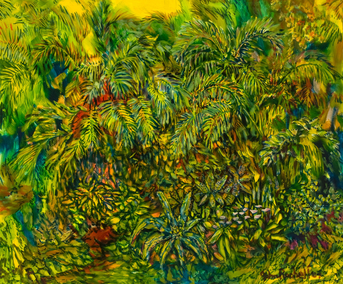 """©John Rachell Title: The Garden, June 17, 2007 Image Size: 36"""" w by 30"""" d Dated: 2007 Medium & Support: Oil paint on canvas Signed: LR Signature"""