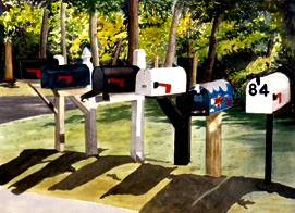Mail Call - While driving by these mailboxes in Hyannis, I had to stop to capture the shadows.