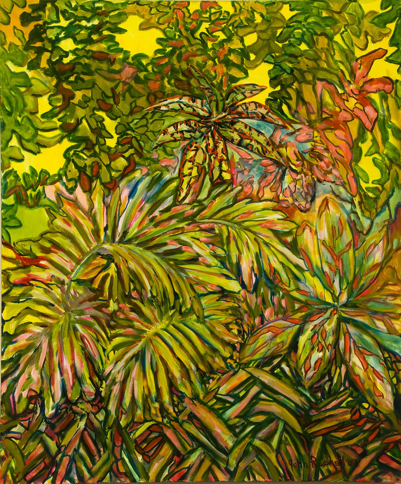 """©John Rachell Title: The Garden, June 10, 2007 Image Size: 30"""" w by 36"""" d Dated: 2007 Medium & Support: Oil paint on canvas Signed: LR Signature"""