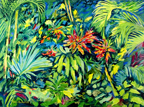 """©John Rachell Title:Garden Series, July 15, 2005 Image Size: 36""""d X 48""""w Dated: 2005 Medium & Support: Oil paint on canvas Signed: LL Signature"""