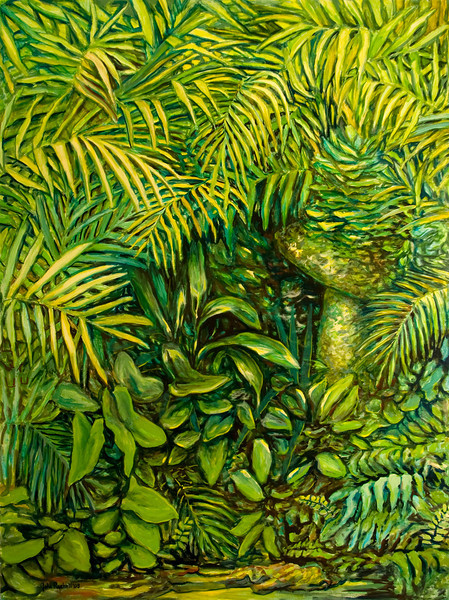 """© 2008 John Rachell Title: Garden, July 28, 2008 Image Size: 36"""" w by 48"""" d Dated: 2008 Medium and Support: Oils on Linen Signed: LL Signature"""