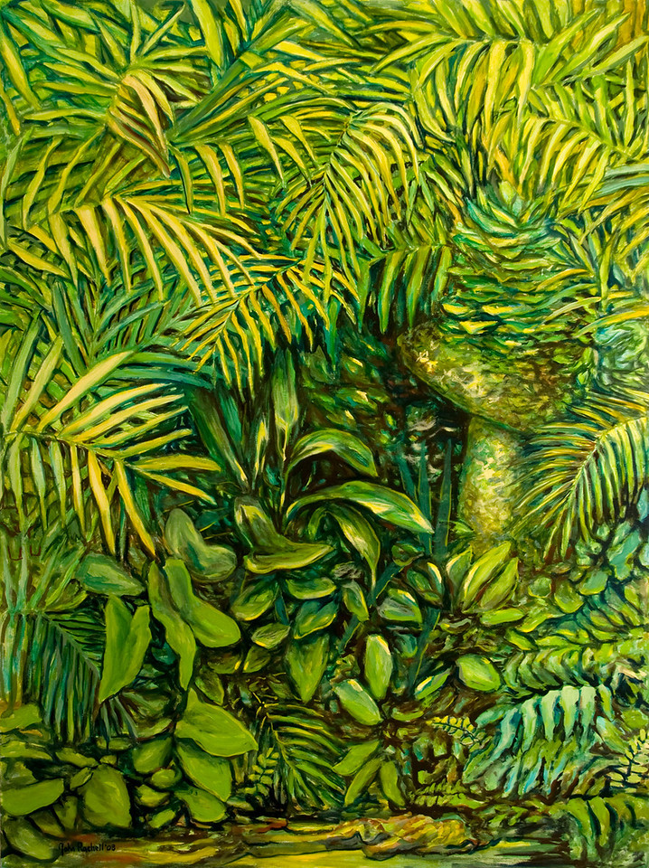 "© 2008 John Rachell Title: Garden, July 28, 2008 Image Size: 36"" w by 48"" d Dated: 2008 Medium and Support: Oils on Linen Signed: LL Signature"