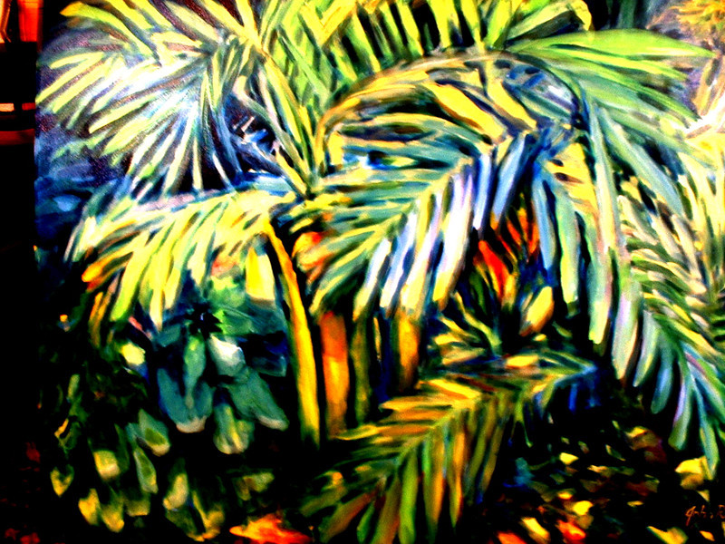 "©John Rachell Title: The Garden, April 14, 2005 Image Size: 36: X 48"" Dated: 2005 Medium & Support:  Oil Painting on Primed Canvas Signed: LR Signature"