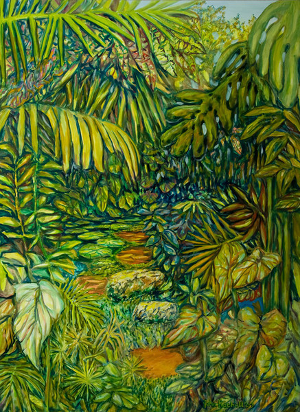 """©John Rachell  Title: Memory of the Four Arts Garden, Palm Beasch, Feb. 17, 2007 Image Size: 36"""" w by 48"""" d Dated: 2007 Medium and Support: Oil paint on canvas Signed: LR Signature"""