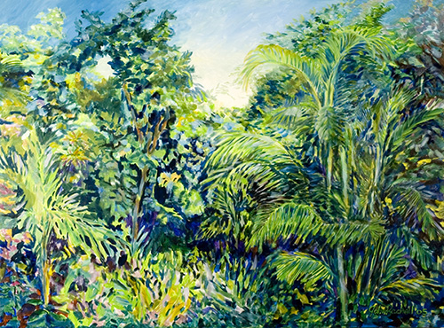 """©John Rachell Title:Garden Series, April 8, 2005 Image Size: 36""""d X 48""""w Dated: 2005 Medium & Support: Oil paint on canvas Signed: LR Signature"""