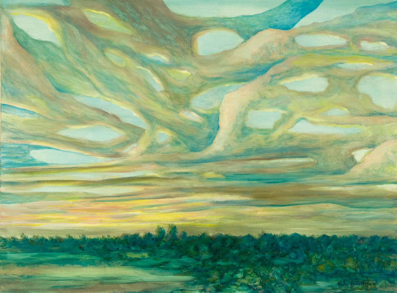 """©John Rachell Title: Coral Sky, September 29, 2007 Image Size: 48"""" w by 36"""" d Dated: 2007 Medium & Support: Oil paint on canvas Signed: LR Signature"""