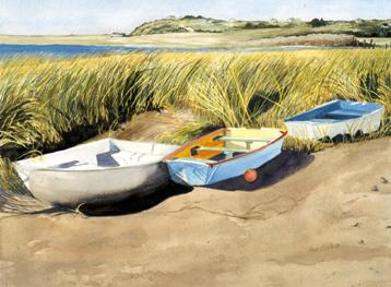 Pamet Harbor - This painting is on the cover of a mystery novel called Murder on the Dunes.