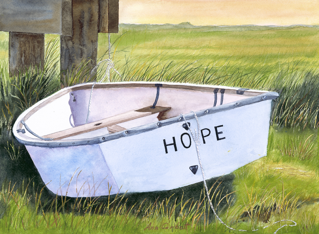 I painted this watercolor for an auction to benefit The American Heart Association.  The name of the boat seemed appropriate.