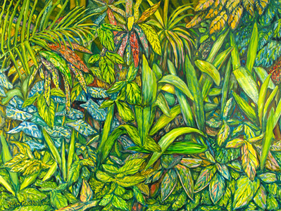 """©John Rachell  Title: The Garden, December 18,  2006 Image Size: 48"""" w by 36"""" d Dated: 2006 Medium and Support: Oil Paint on Canvas Signed: LL Signature"""