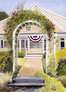 This charming home in Hyannisport shows it's patriotic colors.