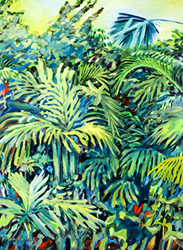 """©John Rachell Title:Garden Series, April 19, 2005 Image Size: 48""""d X 36""""w Dated: 2005 Medium & Support: Oil paint on canvas Signed: LL Signature"""