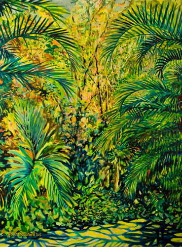 """©John Rachell Title:The Garden September 30, 2005 Image Size: 48""""d X 36""""w Dated: 2005 Medium & Support: Oil paint on canvas Signed: LL Signature"""