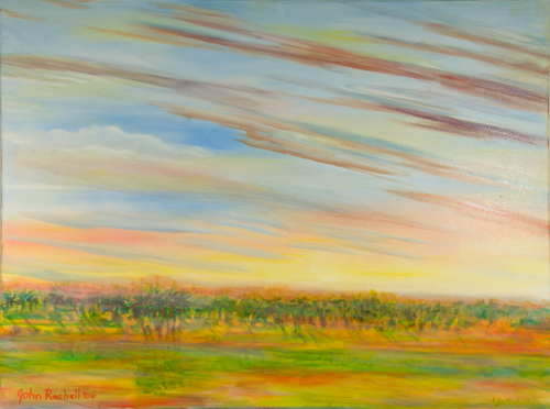 """©John Rachell  Title: Sky, September 21, 2006 Image Size: 48"""" w by 36"""" d Dated: 2006 Medium and Support: Oil Paint on Canvas Signed: LL Signature"""