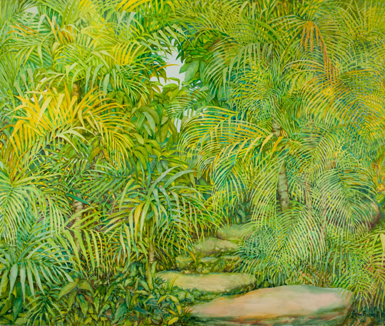 "© 2010 John Rachell Title: Garden, July 25, 2010 Image Size: 72"" W by 60"" D Dated: 2010 Medium and Support: Oil paint on canvas Signed: LR Signature"