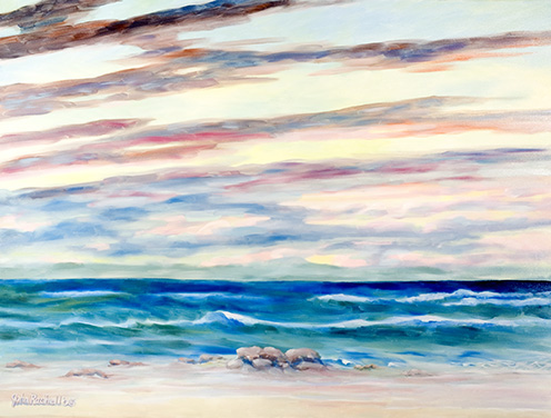 """©John Rachell  Title: Atlantic Ocean Image: 36""""d X 48""""w Dated: 2005 Medium & Support: Oil paint on canvas Signed: LL Signature"""