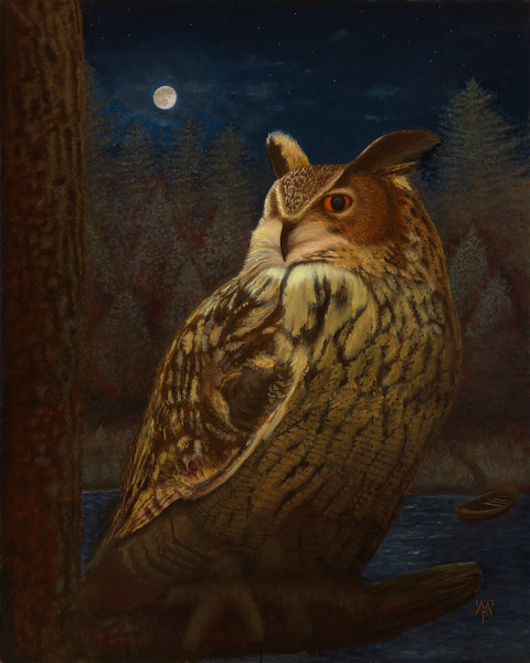 """An oil painting of a Eurasian Eagle Owl named Oriead. """"Oriead, Queen of the Forest"""", oils on linen birch panel, 30"""" x 24"""", July 2013."""
