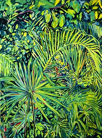 """©John Rachell Title:Garden Series, August 1, 2005 Image Size: 48""""d X 36""""w Dated: 2005 Medium & Support: Oil paint on canvas Signed: LR Signature"""