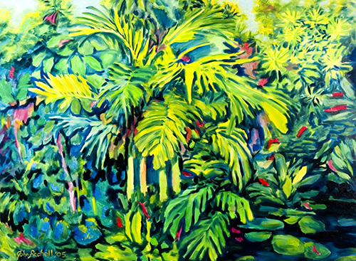 """©John Rachell Title:Garden Series, July 24, 2005 Image Size: 36""""d X 48""""w Dated: 2005 Medium & Support: Oil paint on canvas Signed: LL Signature"""