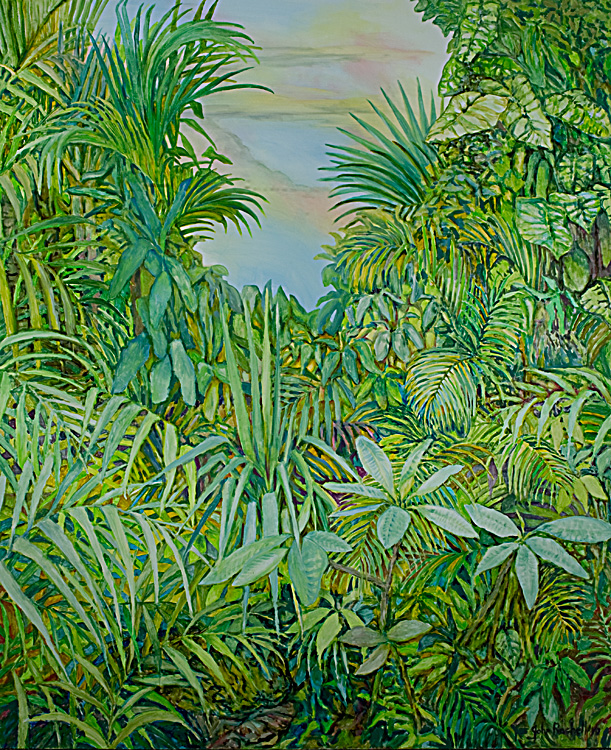 """© 2010 John Rachell Title:  Garden, June 2, 2010 Image Size:  60"""" w by 72"""" d Dated:  June 2, 2010 Medium & Support: Oil on Canvas Signed: LR Signature"""