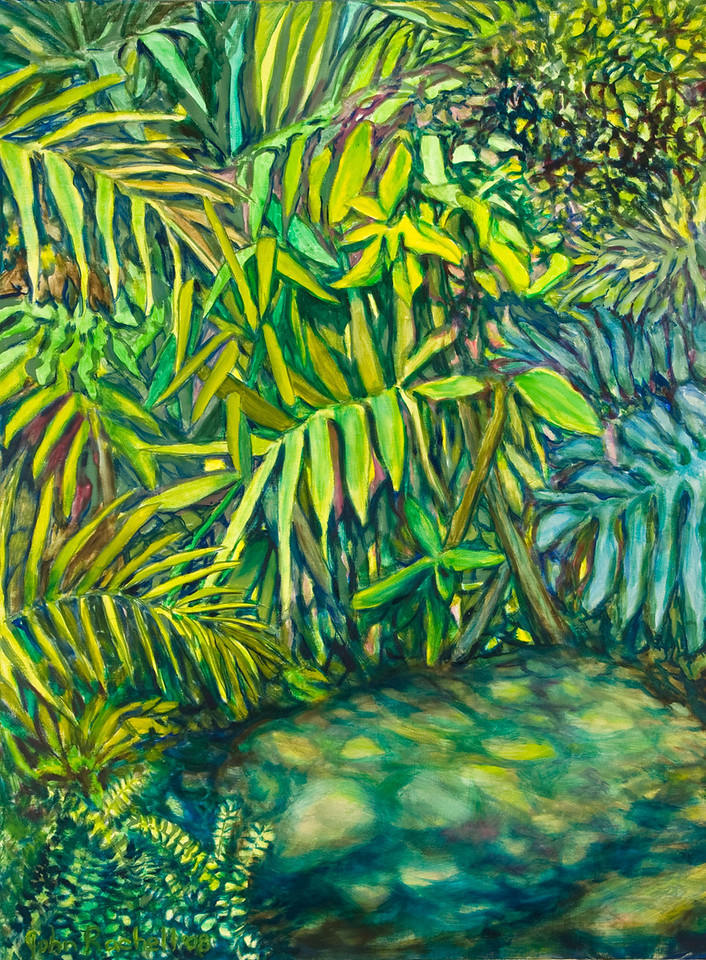 "© 2008 John Rachell Title: Garden, January 11, 2008 Image Size: 30"" w by 40"" d Dated: 2008 Medium and Support: Oils on canvas Signed: LL Signature"