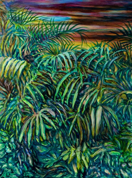 "© 2009 John Rachell Title: Garden, June 4, 2009 Image Size: 36"" w by 48"" d Dated: June 4, 2009 Medium & Support: Oils on Linen Signed: LR Signature"