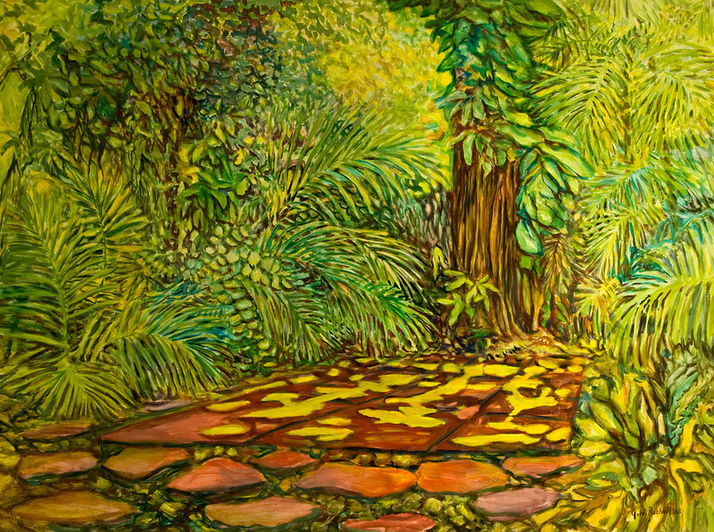 """© 2008 John Rachell Title: Garden, May 12, 2008 Image Size: 48 w by 36"""" d Dated: 2008 Medium and Support: Oils on Linen Signed: LR Signature"""