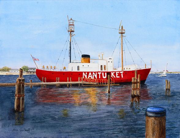 Nantucket Lightship docked in the harbor on Nantucket.
