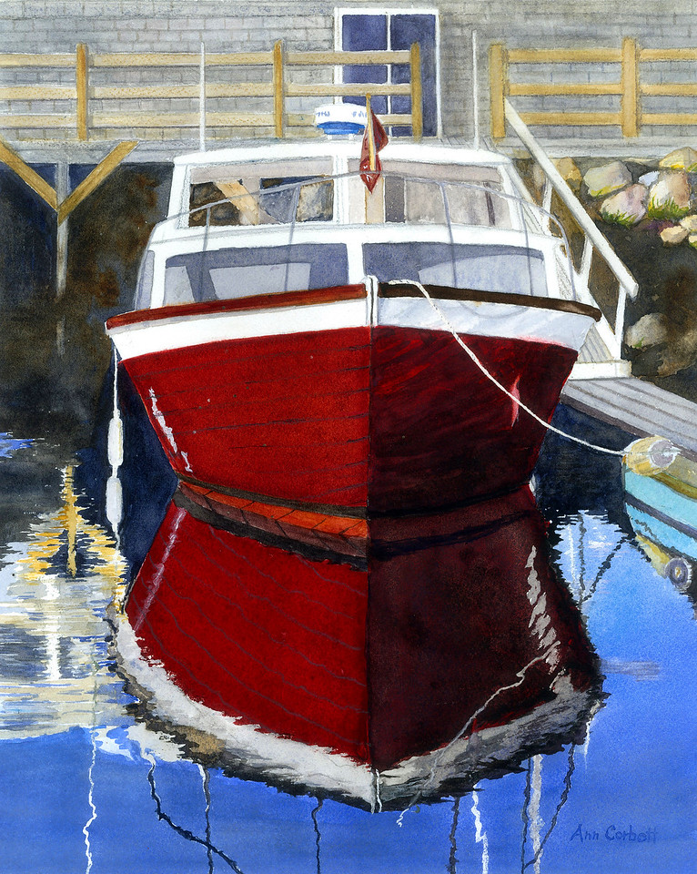 Red Boat Reflections - the shape and color of this old boat is like a magnet pulling the viewer into this painting.  Thanks to Sheldon for the photo.
