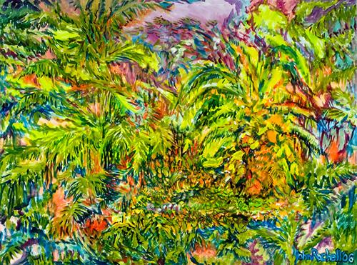 "©John Rachell  Title: Garden, June 29, 2006 Image Size: 40""w X 30""d Date: 2006 Medium & Support: Oil paint on canvas Signed: LR Signature"