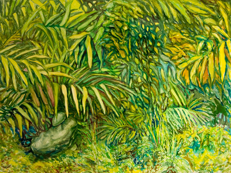 """© 2008 John Rachell Title: Garden, May 22, 2008 Image Size: 48"""" w by 36"""" d Dated: 2008 Medium and Support: Oils on Linen Signed: LR Signature"""