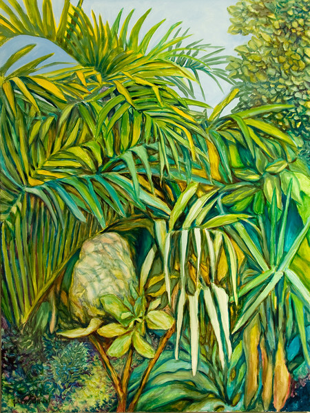 """© 2008 John Rachell Title: Garden, June 2, 2008 Image Size: 36"""" w by 48"""" d Dated: 2008 Medium and Support: Oils on Linen Signed: LL Signature"""