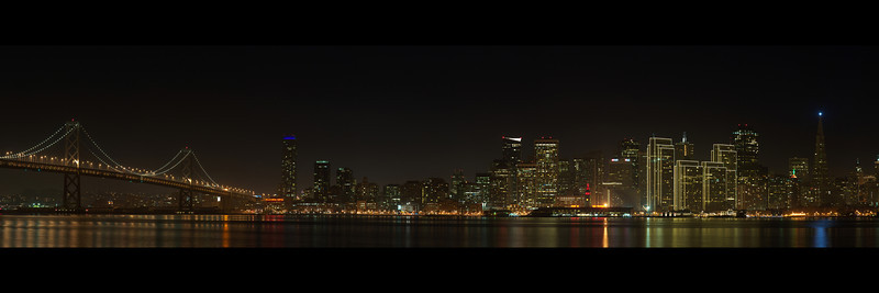 The San Francisco Skyline captured on December 17th, 2011  Use this image for 10x30 prints