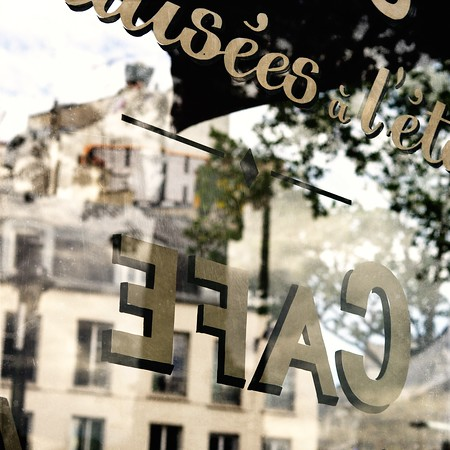 Paris Café Window Reflection