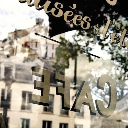 Paris Café Window Reflection