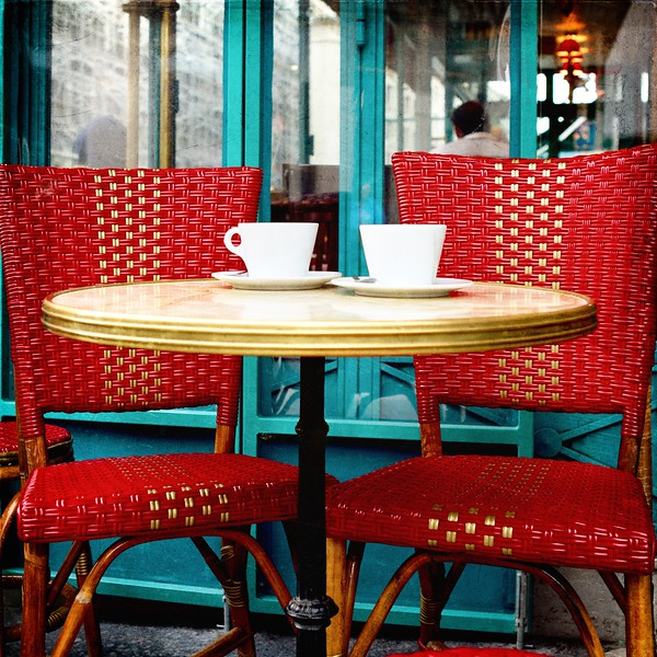 Paris café, red chairs