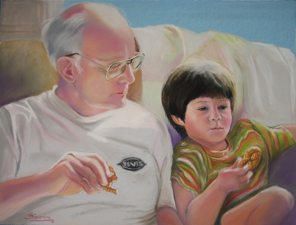 "<h2> Pretzels With Papa </h2>  Pastels on Paper  18"" x 24"""