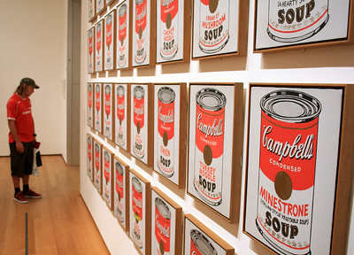 "Andy Warhol Campbell's Soup Cans 1962  Synthetic polymer paint on thirty-two canvases, Each canvas 20 x 16"" (50.8 x 40.6 cm). Partial gift of Irving Blum Additional funding provided by Nelson A. Rockefeller Bequest, gift of Mr. and Mrs. William A. M. Burden, Abby Aldrich Rockefeller Fund, gift of Nina and Gordon Bunshaft in honor of Henry Moore, Lillie P. Bliss Bequest, Philip Johnson Fund, Frances R. Keech Bequest, gift of Mrs. Bliss Parkinson, and Florence B. Wesley Bequest (all by exchange). © 2011 Andy Warhol Foundation / ARS, NY / TM Licensed by Campbell's Soup Co. All rights reserved. www.moma.org"