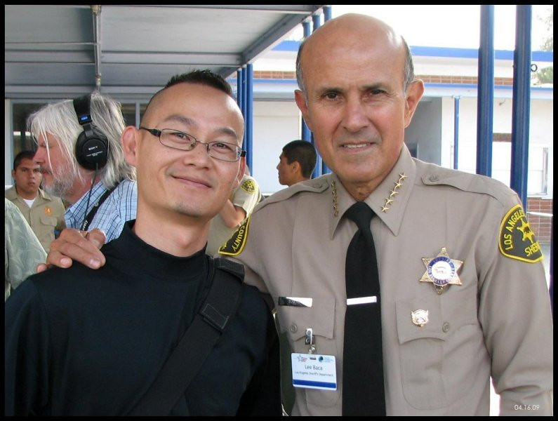 Los Angeles County Sheriff, Lee Baca at the School Terrorism and Response exercise that I participated in, both photographing as well as a 'bad guy' against the LASD and FBI SWAT teams.