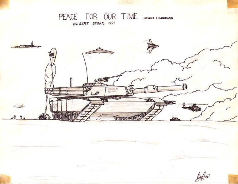 I drew this back in high school just after Desert Storm, the 'first' Iraq war. I was an avid student of military history and hardware and included the major weapon systems employed by the U.S. during the brief conflict.
