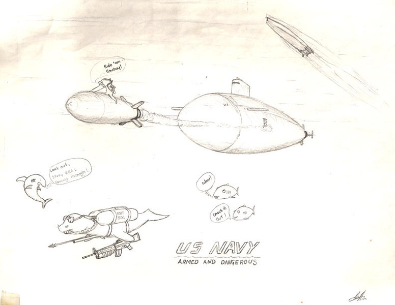Another drawing from my high school days. It started off as my attempt to illustrate a submarine, which turned into and exercise in drawing marine animals, with a humorous twist.
