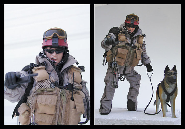 This is my homage to Search and Rescue professionals and their K9 partners. After much reading and research, I 'kit bashed' this 1:6 scale (12-inch) figure based on an Air Force Pararescue Jumper (PJ) and K9 on a snowy mountain search for avalanche victims.