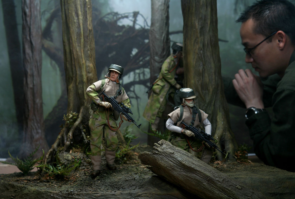 It's a real challenge to pose and stand up unsupported 1:6 action figures. These are Star Wars Endor Rebel Commandos on a custom built set and matte printed background.