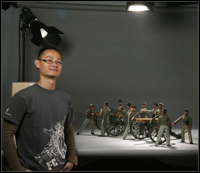 """One of the pleasures of heading the graphic design and photography departments at Sideshow was 'playing' with toys on the clock. This set up was for a shot in the print catalog to represent the Civil War 12"""" figure line. The poses were mimicking a famous old photo from the era."""