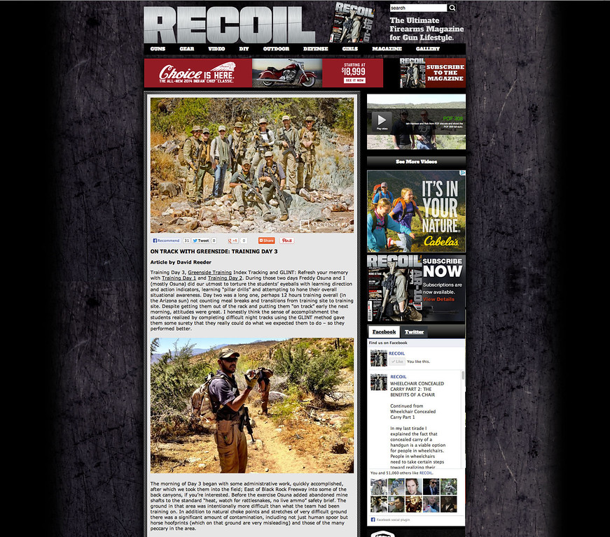 "A few photos from the RECOIL Magazine assignment were included in RECOIL's web page summary of the Greenside Combat Tracking Course. The full story, written by Editor in Chief Iain Harrison, will be published in the next print edition. <br /> <br /> It was a great trip working with some fantastic people from RECOIL, Greenside Training, STA Training Group, B5 Systems, Women's Tactical Association, Ares Gear, and AWC Silencers. <br /> <br /> <a href=""http://www.recoilweb.com/on-track-with-greenside-training-day-3-30995.html"">http://www.recoilweb.com/on-track-with-greenside-training-day-3-30995.html</a>"