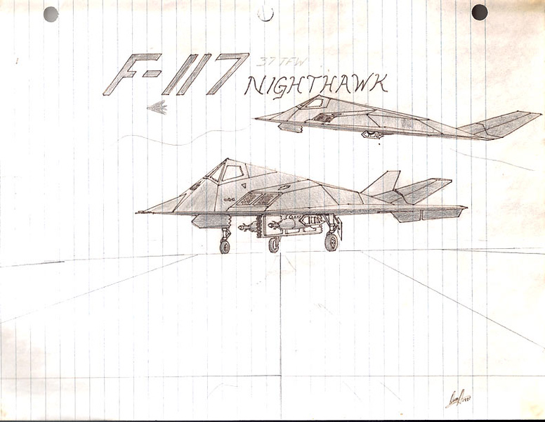 Many of my drawings were made on whatever medium I had on hand. In this case, notebook paper. The F-117 was shrouded in mystery for a very long time and the unveiling was a pretty big deal.